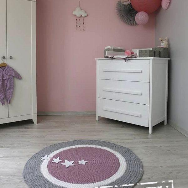 tapis rond au crochet rose clair gris