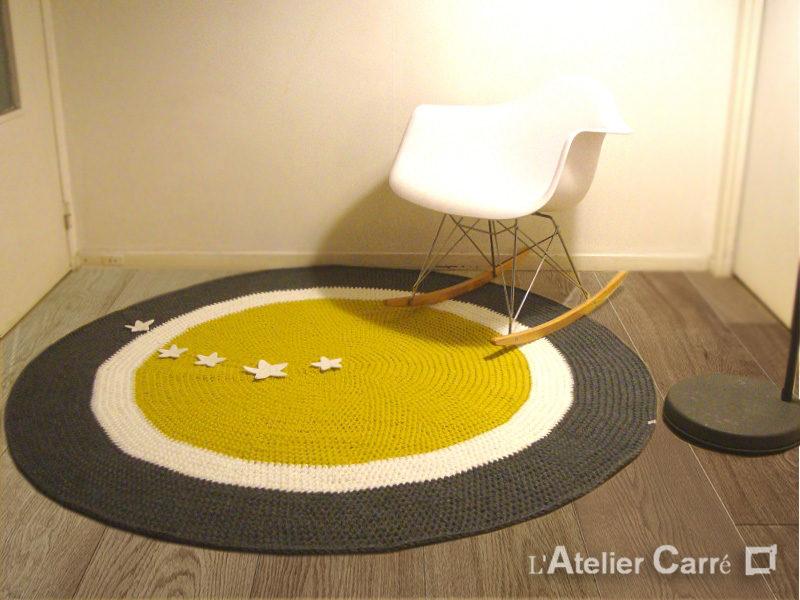 tapis rond 3 couleurs 160cm en laine personnalisé