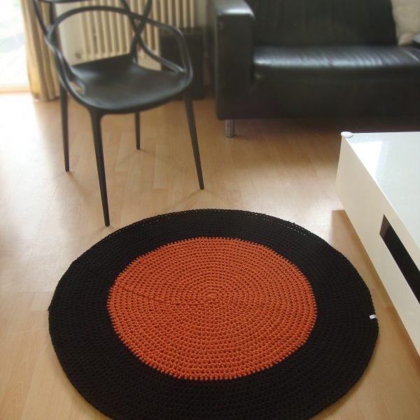 tapis rond personnalisable noir rouille