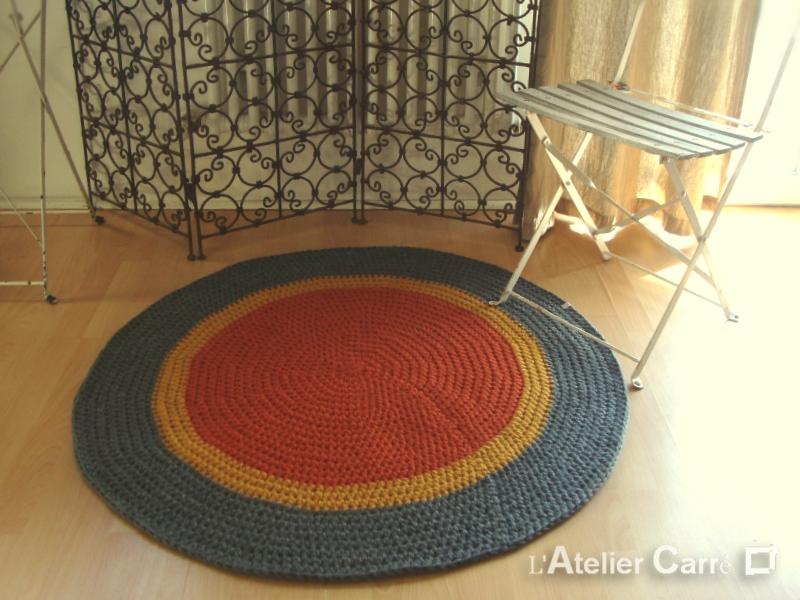 tapis rond en laine 100cm rouille gris