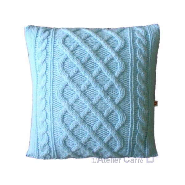 Coussin en tricot torsadé personnalisable