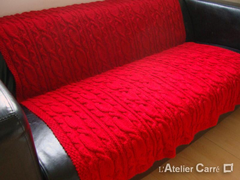 grand plaid en tricot torsadé motif et couleurs au choix