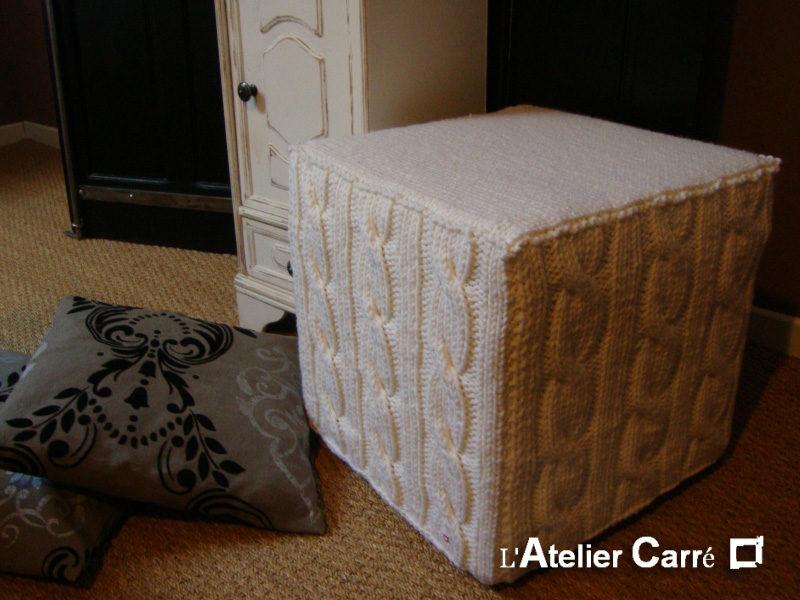 housse pour pouf cube 40 cm tricot torsadé