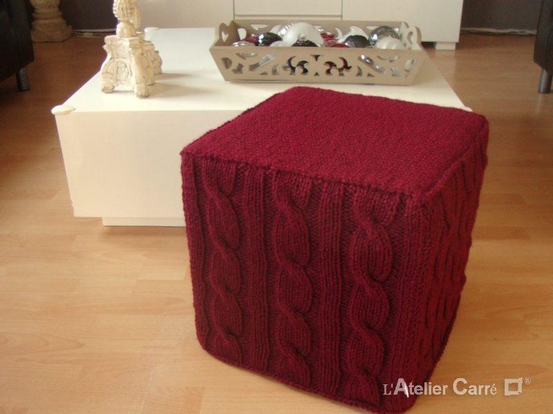 housse pour pouf en tricot torsadé