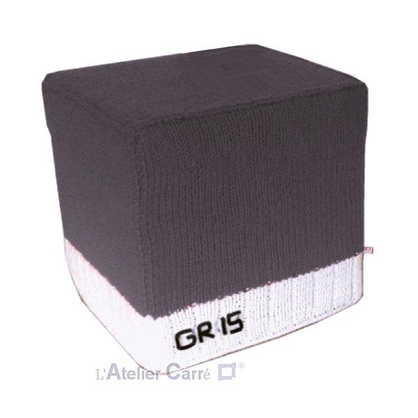 Housse bicolore pour pouf cube personnalisable en laine