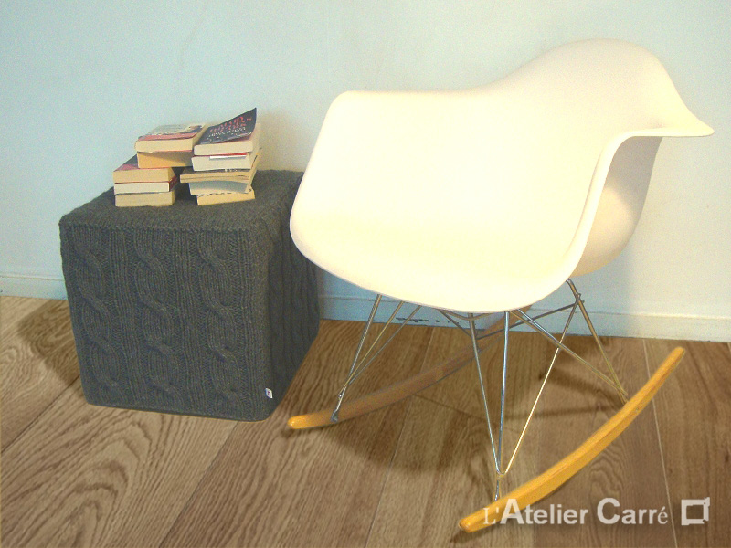 housse pour pouf cube 40 cm tricot torsadé gris foncé