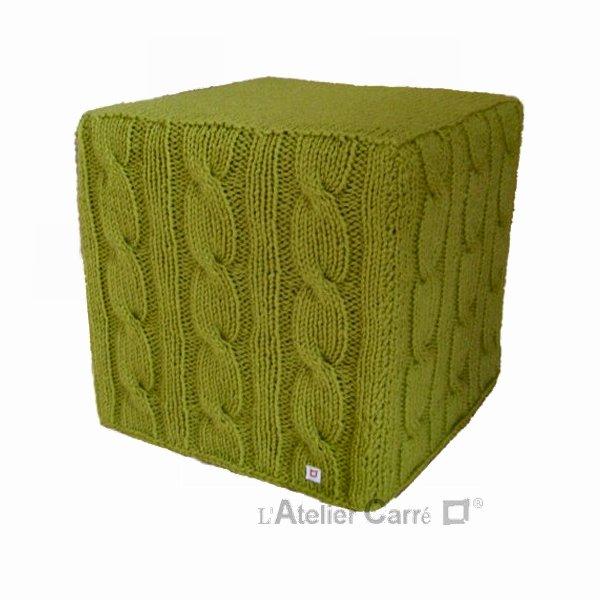housse pouf cube en tricot torsadé