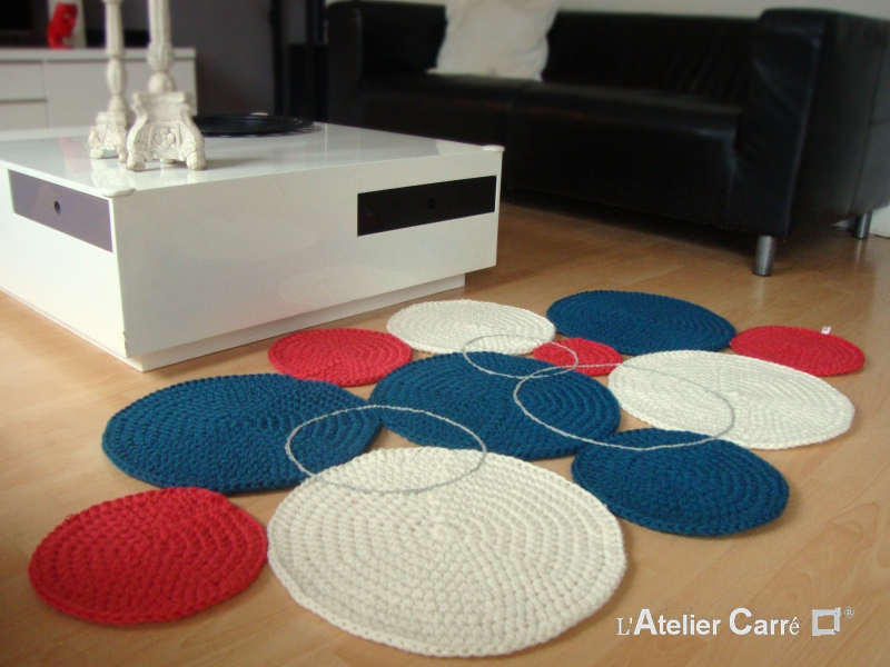 tapis ronds colores sur mesure en laine