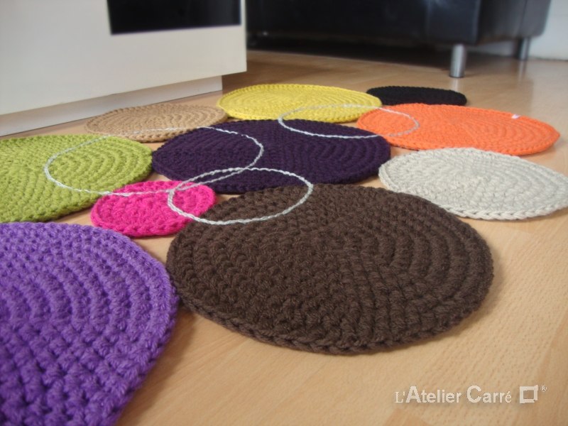 tapis au crochet design ronds colorés