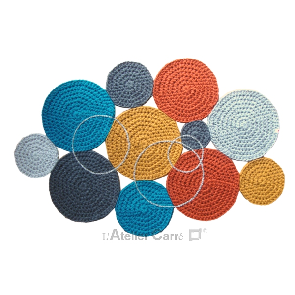 Tapis confettis ronds au crochet