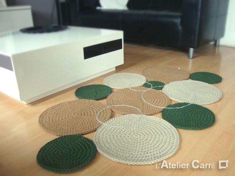 tapis en laine ronds colorés au crochet