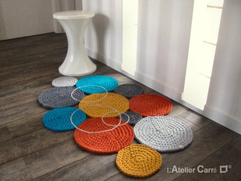 tapis ronds colorés en crochet design