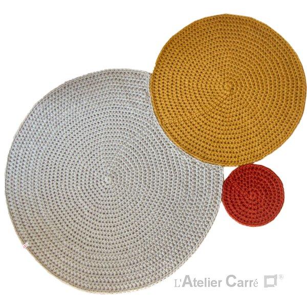tapis en laine design ronds encastrés
