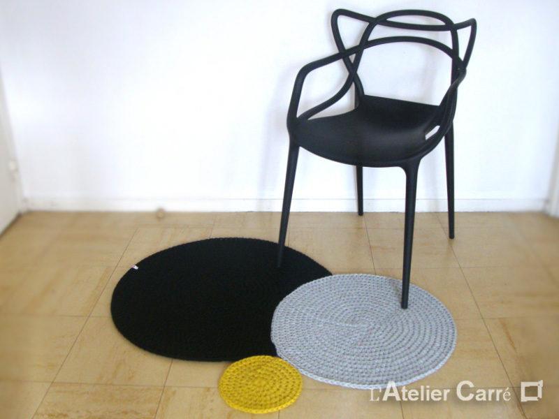 tapis design en laine 3 ronds encastrés couleurs et tailles au choix