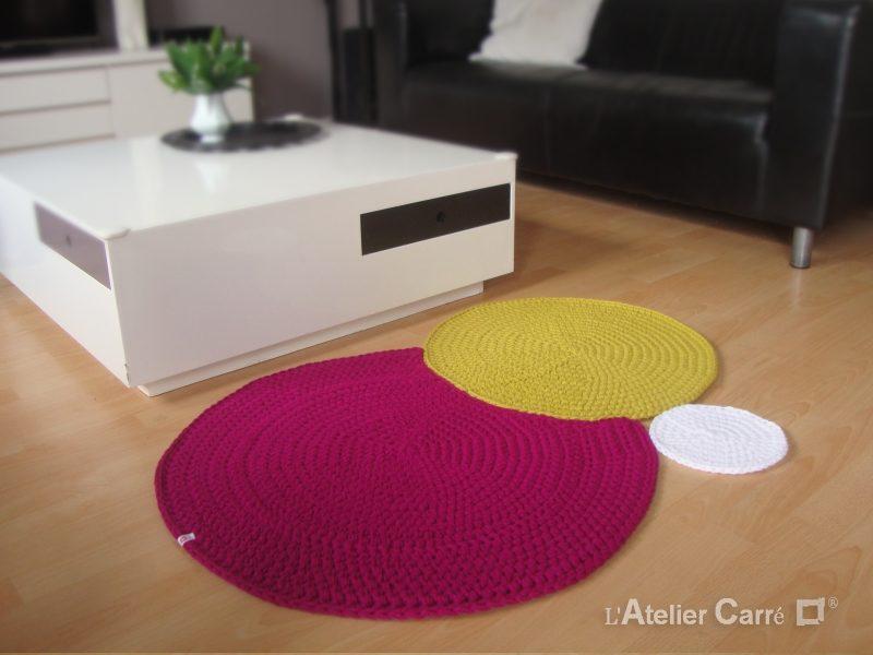 tapis design en laine ronds encastrés