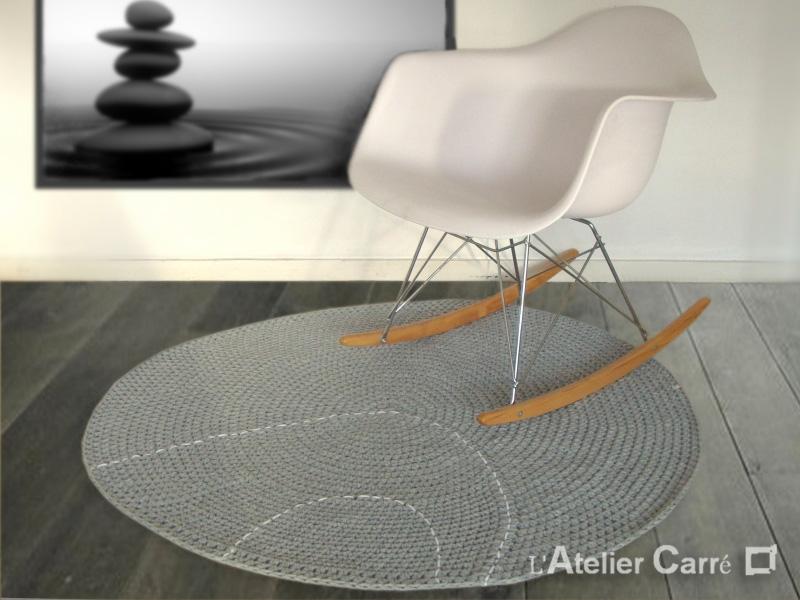 tapis en laine forme galet dimension et couleur au choix