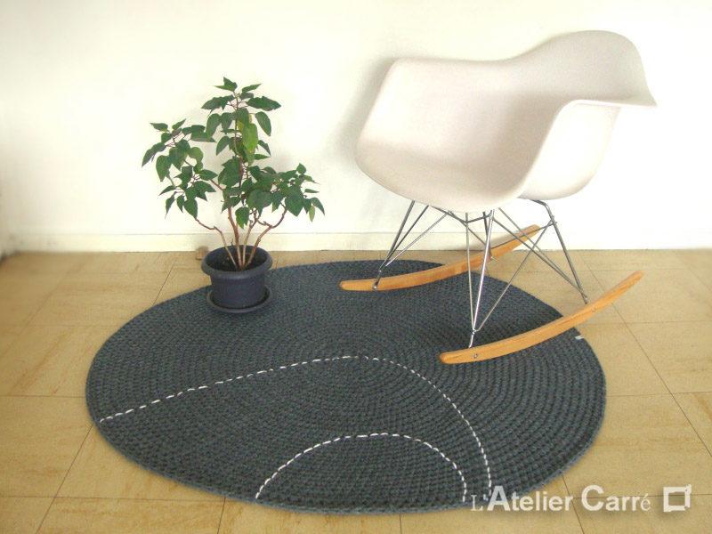tapis en laine forme galet couleurs au choix