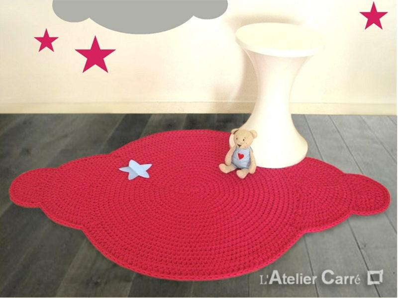 tapis en laine forme nuage avec étoile coloris et tailles au choix