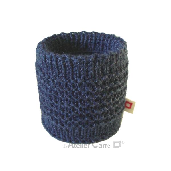 chaussette pour boite de conserve en tricot bleu indigo