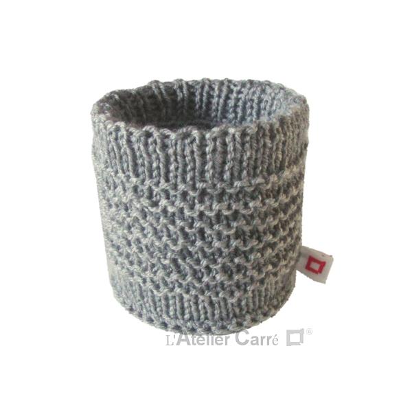 chaussette pour boite de conserve en tricot gris clair