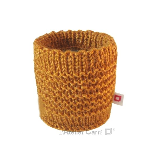 chaussette pour boite de conserve en tricot moutarde