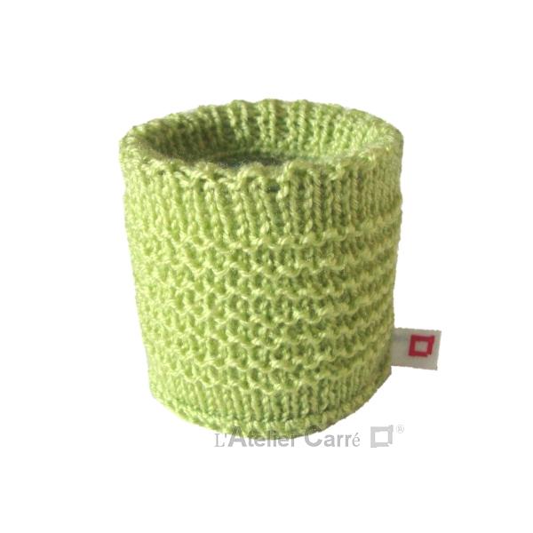 chaussette pour boite de conserve en tricot vert clair