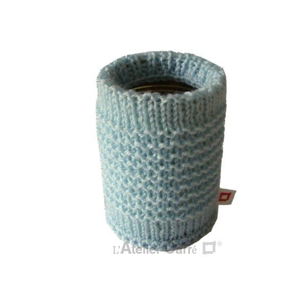 chaussette pour boite de conserve en tricot bleu ciel