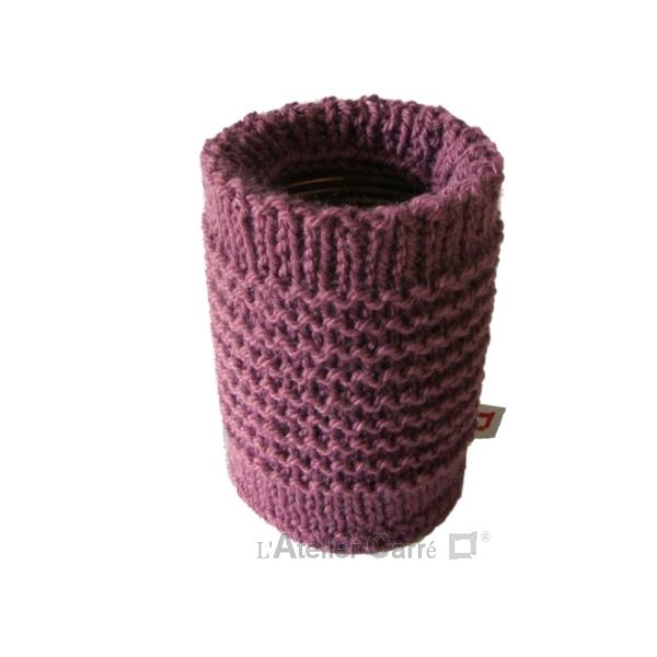 chaussette pour boite de conserve en tricot prune