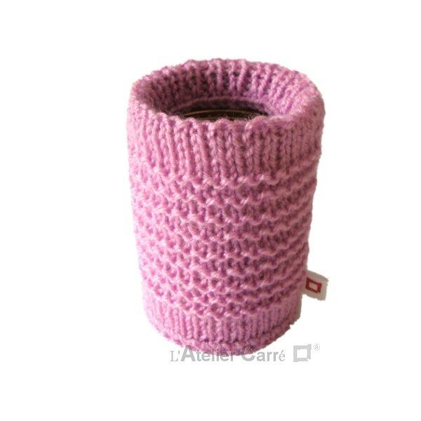 chaussette pour boite de conserve en tricot rose clair