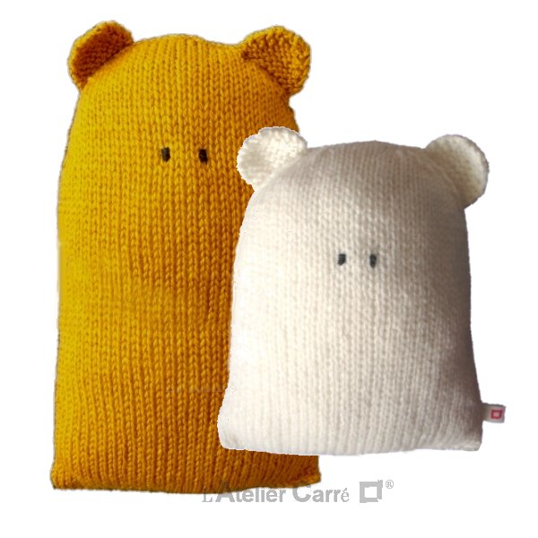 coussin forme ours en tricot