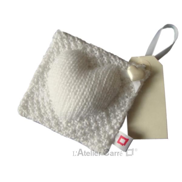 coussin de porte en tricot décoratif blanc