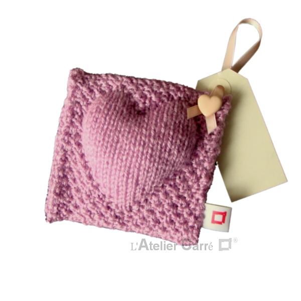 coussin de porte en tricot décoratif rose clair