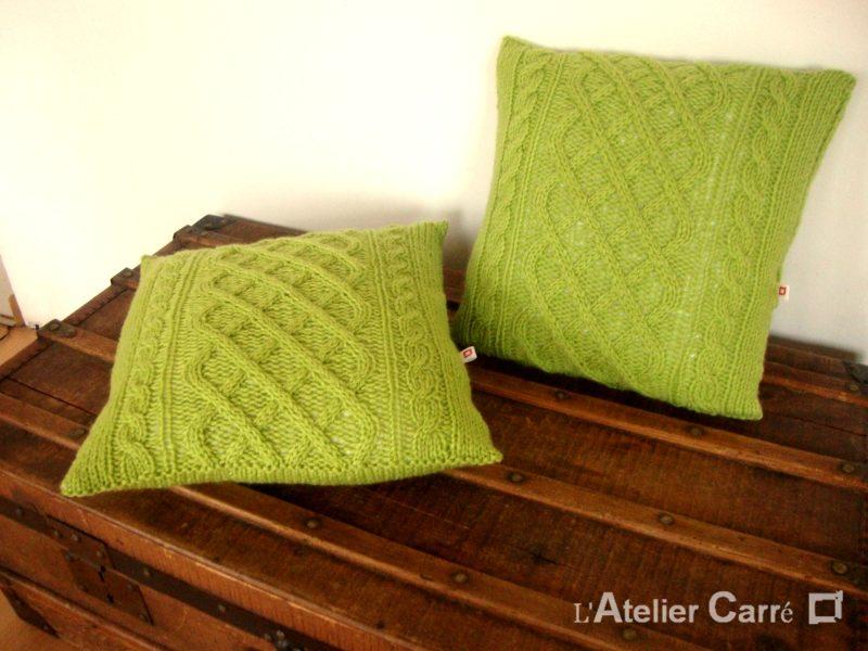 Coussin torsadé sur mesure coloris vert pistache