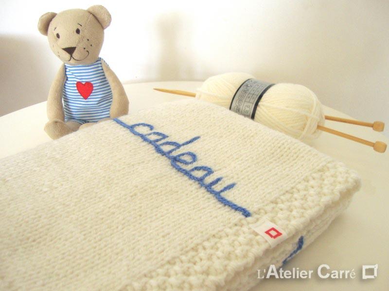 couverture bébé en laine personnalisable prénom