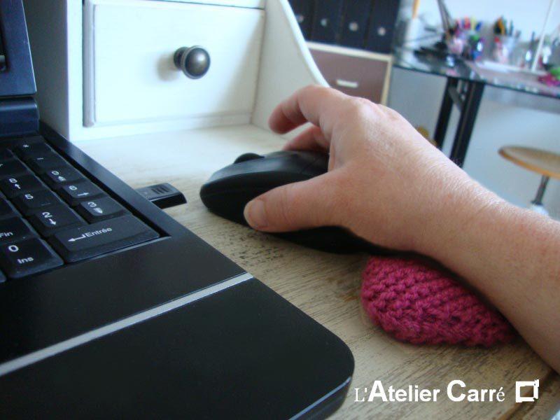 repose poignet ergonomique en laine et mousse pour souris d'ordinateur