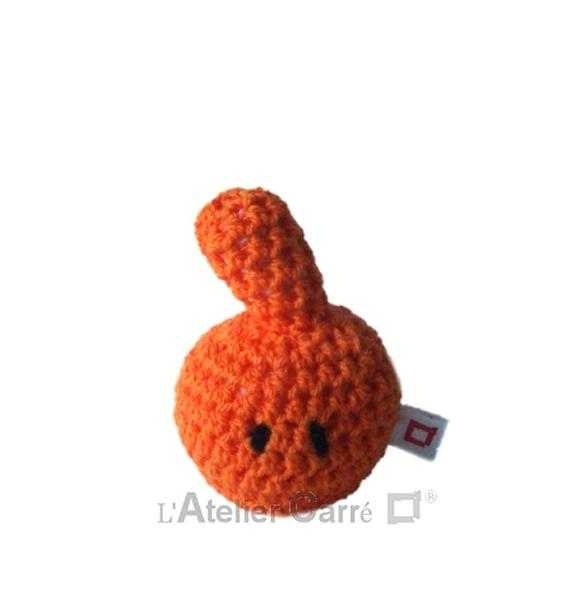 personnage rigolo au crochet rembourré mousse orange