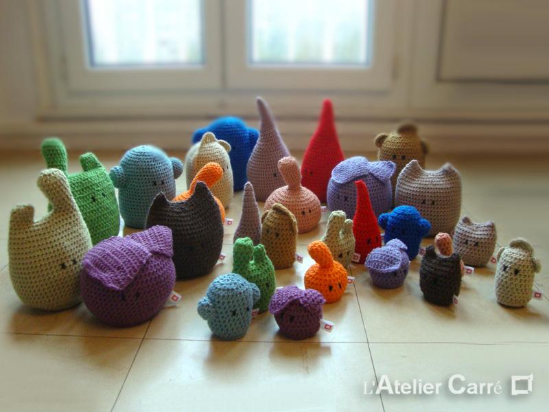 doudous personnages rigolos au crochet laine et mousse