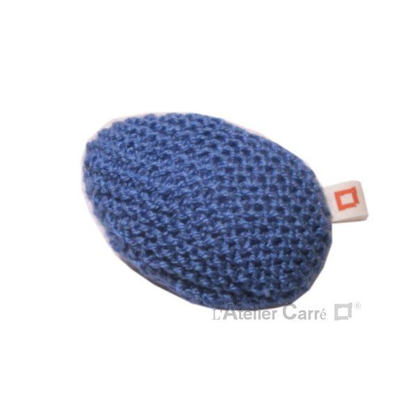 repose poignet ergonomique en laine et mousse bleu