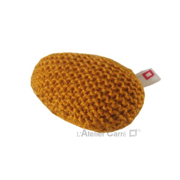 repose poignet ergonomique en laine et mousse moutarde
