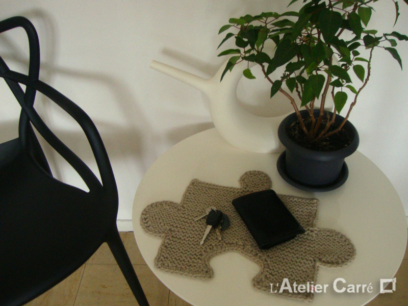 set de table en tricot forme puzzle