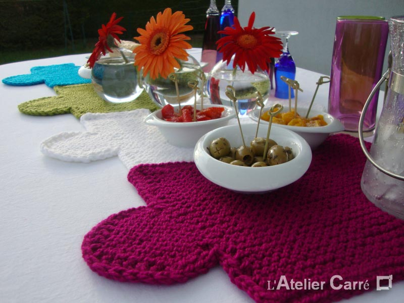 set de table en tricot encastrable couleur au choix