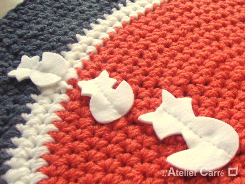tapis rond au crochet personnalisable
