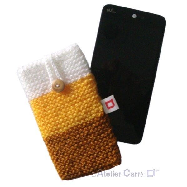 Etui de protection en laine tricolore pour smartphone