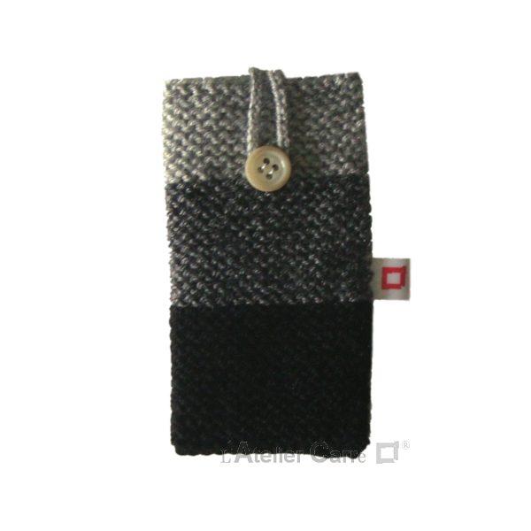 Housse pour smartphone en laine tricolore noir
