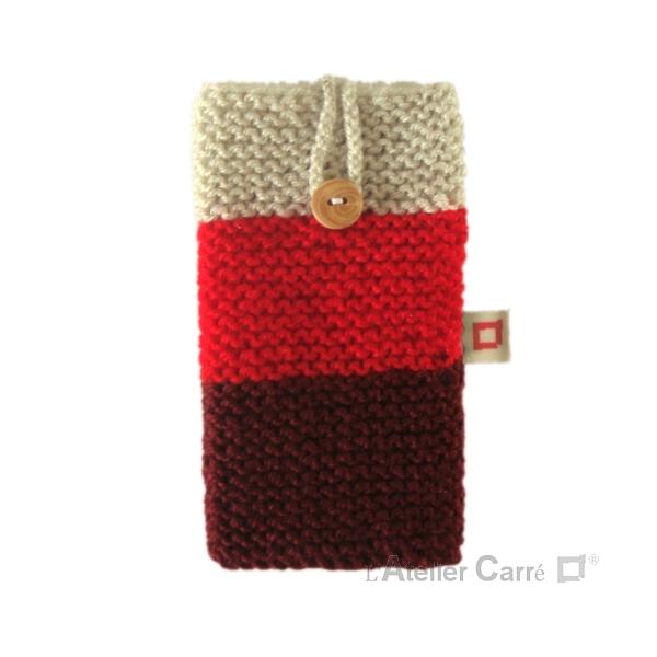 Housse pour smartphone en laine tricolore rouge