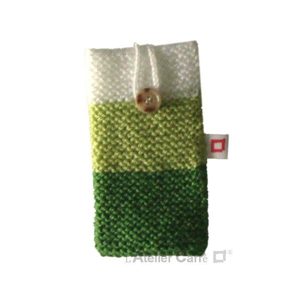 Housse pour smartphone en laine tricolore vert