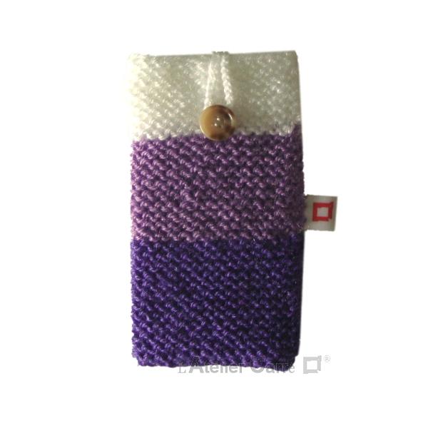 étui chaussette pour smartphone en laine violet