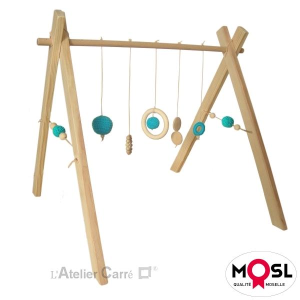 portique d'éveil bébé arche d'activité en bois et crochet