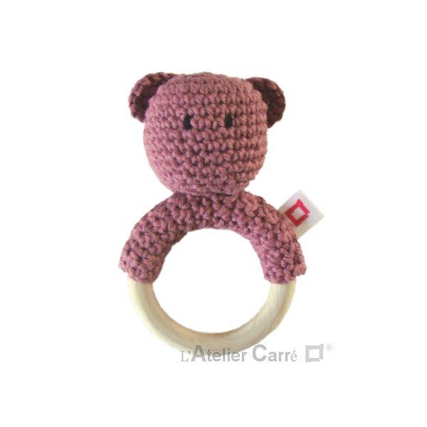 hochet bois et crochet anneau de dentition ourson rose ancien