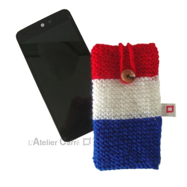 etui pour smartphone en laine tricolore équipe de France